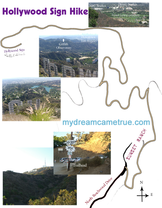 Hollywood Sign Hike map