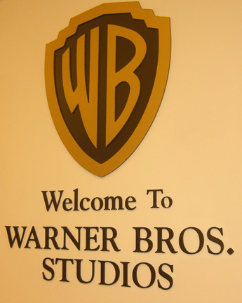 Welcome to Warner Bros. Studios sign inside the Gate 3 parking garage at Warner Bros. Studios in Burbank, California where The Big Bang Theory is filmed