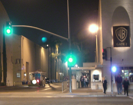 Warner Bros. Studios in Burbank, California Gate 2 at night after a Big Bang Theory taping