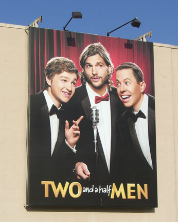 Two and a Half Men poster outside Warner Bros. Studios in Burbank, California