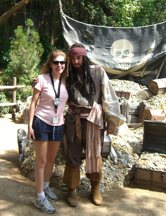 Posing with Jack Sparrow (who looked amazingly like Johnny Depp) on my birthday at Disneyland