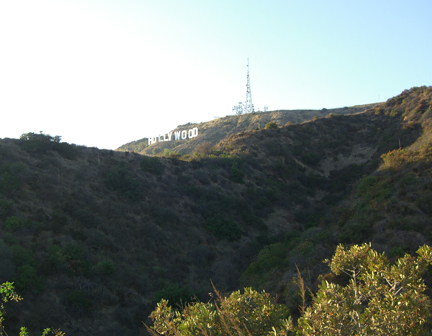 Hollywood Sign hike: the view of the sign just minutes after leaving the trailhead
