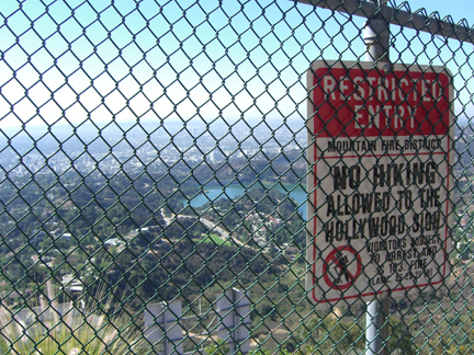 Hollywood Sign hike: view of the letters through the fence