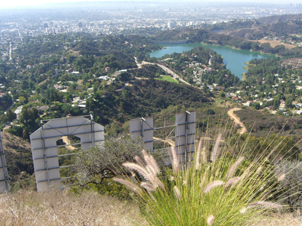 Hollywood Sign hike: view of the backside of the letters