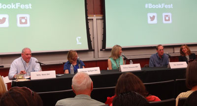 Moderator, Rollie Weich, gets the conversation going with Katherine Applegate, Kathryn Fitzmaurice, Gary Schmidt, and Linda Urban.