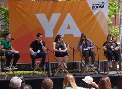 Moderator, Aaron Hartzler, talks with authors Sean Beaudoin, Elizabeth Eulberg, D.C. Pierson, and Amy Spalding.