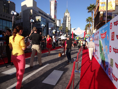 Walking down the red carpet at Disney's Planes premiere