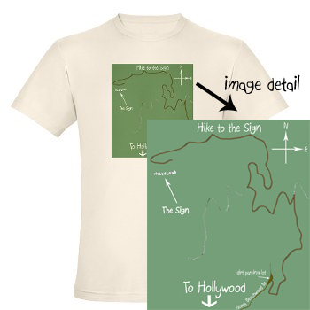 Hollywood Sign Hike map t-shirt