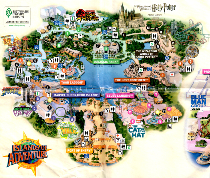 The Wizarding World of Harry Potter: Islands of Adventure map